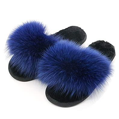 6f99d0d896e1 New Winter Women Wool Slippers Luxury Real Fox Hair Fluffy Fur Warm Soft  Indoor Slippers Furry