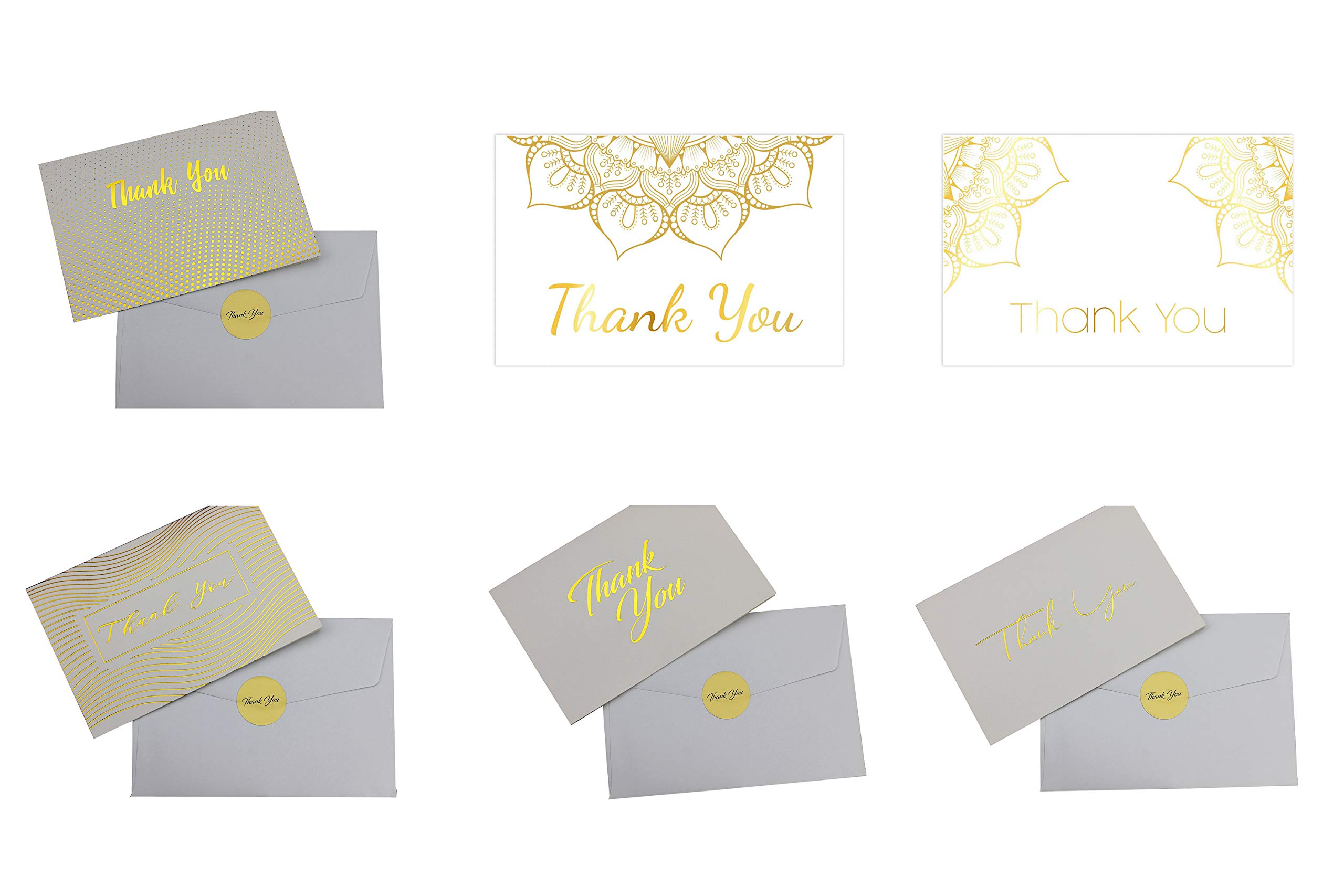 Elegant 100 Thank You Cards with 4x6 Envelopes and Stickers. For Baby Shower, Business and Wedding, 6 assorted designs (Gold stamp text - white).