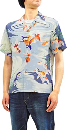 Sun Surf SS38027 - Camisa Hawaiana para Hombre, Manga Corta, diseño de pez japonés, Color Dorado - Gris - 48 ES/M: Amazon.es: Ropa y accesorios