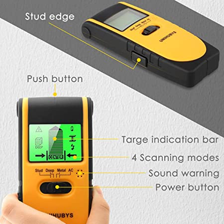Stud Finder Wall Scanner-Digital LCD Display Multi Function Stud Finder for Detecting Studs Wood Metal Wires,4 Scanning Modes, Visual Sound Warning, Automatic Calibration for Home Construction