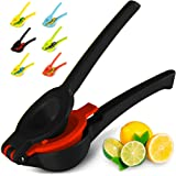 Top Rated Zulay Premium Quality Metal Lemon Lime Squeezer - Manual Citrus Press Juicer, Midnight Black and Red