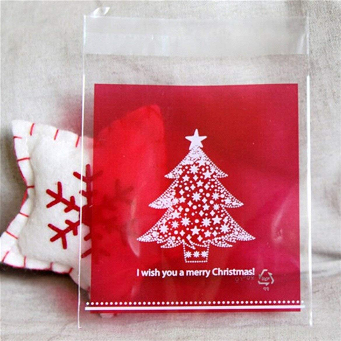 Yevison 100pcs Merry Christmas Red and Green Christmas Tree Cookie Packaging Plastic Bags for Biscuits Cake Baking Package Durable and Useful