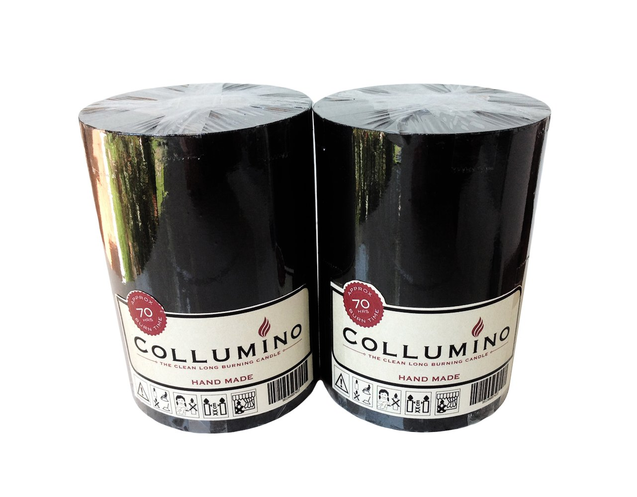 Lot de 2 Red Collumino/® 70/heures Bougies pilier solide Couleur Taille 10/x 7/cm