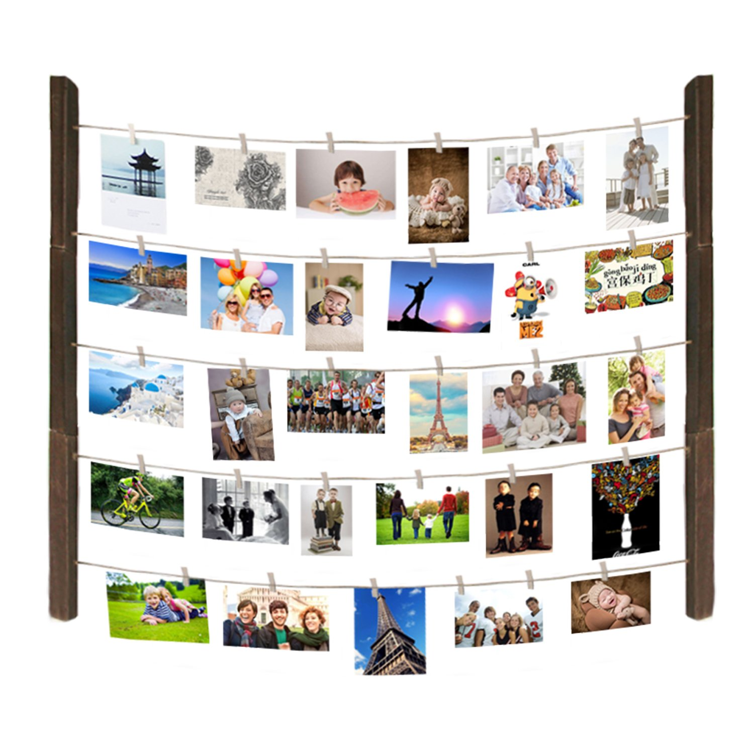 Maggift Hanging Photo Display, Hanging Pictures Holders with wooden Clips, Mounting Hardwares Included (Wood) by MAGGIFT