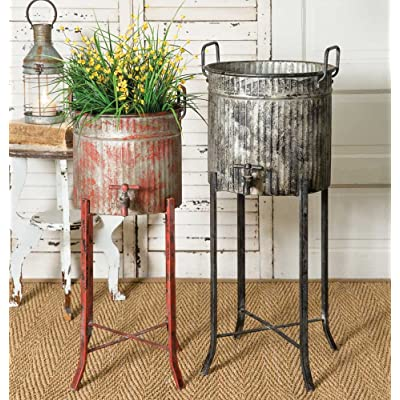 Colonial Tin Works Set of Two-Rustic Industrial Farmhouse Chic Spigot Tubs/Planters with Stands, grey and red : Garden & Outdoor