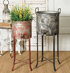 Colonial Tin Works Set of Two-Rustic Industrial Farmhouse Chic Spigot Tubs/Planters with Stands, grey and red