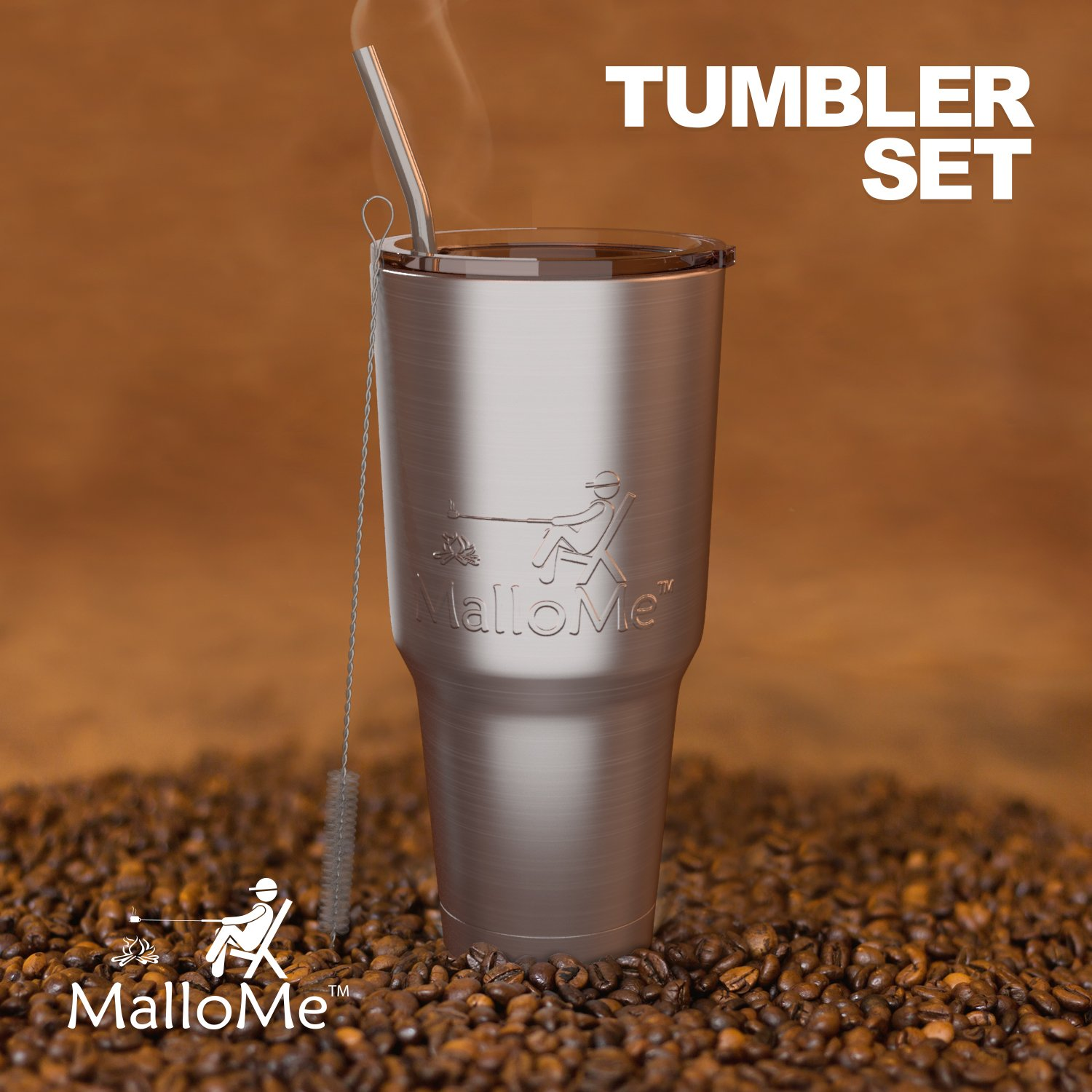 MalloMe Tumbler 30 oz. Double Wall Stainless Steel Vacuum Insulated - Travel Mug [Crystal Clear Lid] Water Coffee Cup [Straw Included] For Home,Office,School - Works Great for Ice Drink, Hot Beverage by MalloMe (Image #6)