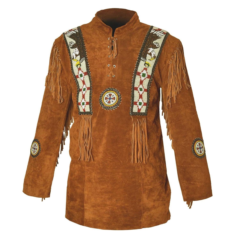 Camel marron 4XL Chemise en Daim à Franges pour Homme Western Cowboy D2 XXS-5XL Camel marron