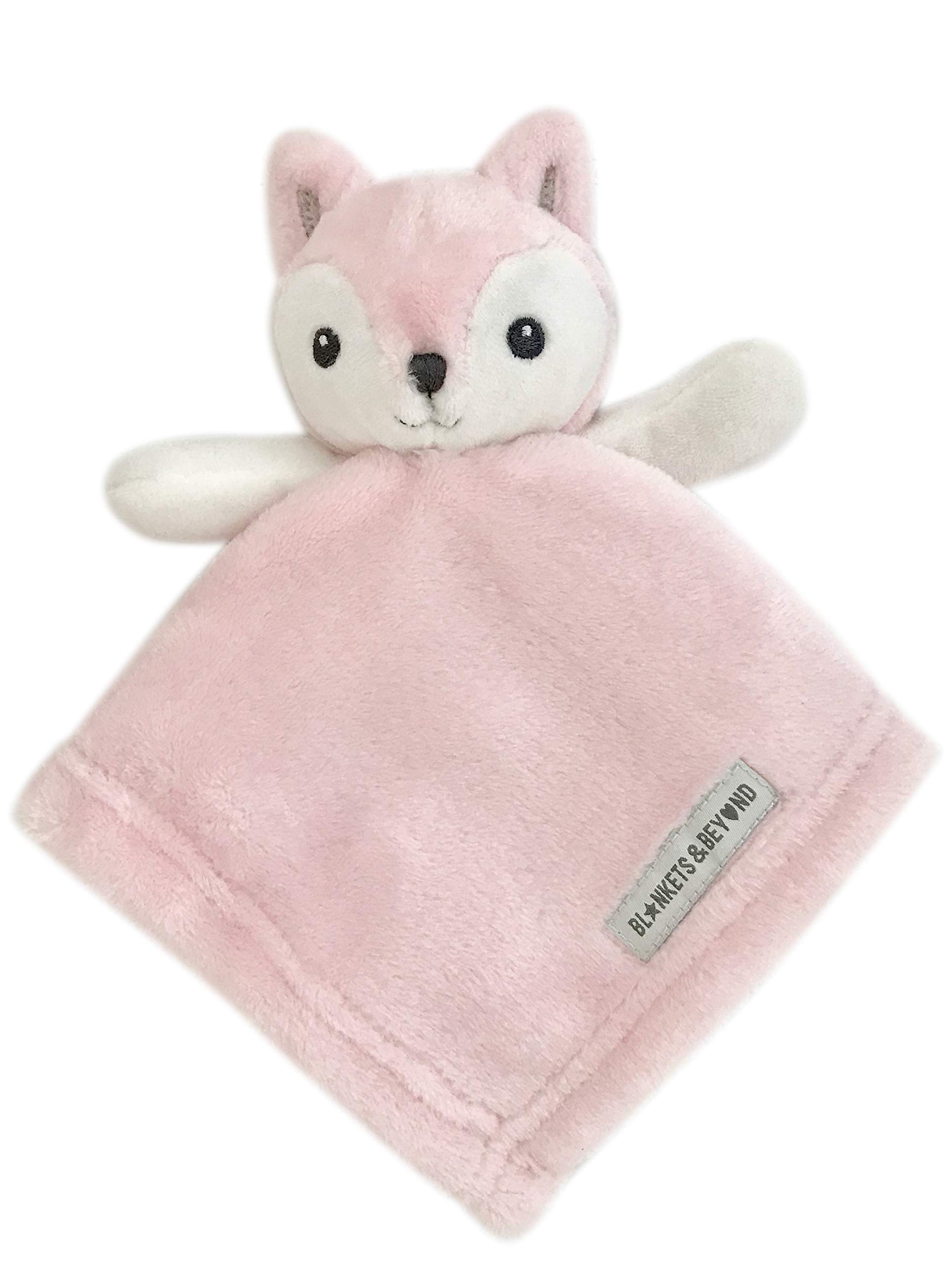 Ultra Plush Personalized Adorable Lovey | Embroidered Cuddly Stuffed Fox Baby Extra Soft Nunu Security Blanket | Gifts with Designer Look & Quality Material, 15x15 Inch (Baby Pink), Boy or Girl by Blankets and Beyond