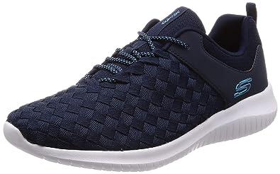 Skechers Women's Ultra Flex Weave Away Sneaker, Navy, 8