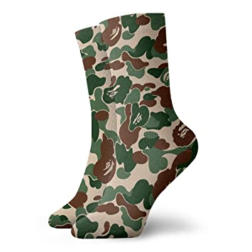 67e9614f1 Aniaml Bape Camouflage Green Men Women Novelty Funny Crazy Crew Sock  Printed Sport Athletic Socks 30cm