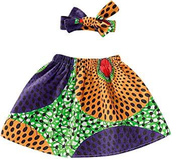 Edjude Toddler Baby Girls Dashiki Printed Clothing Sets African Ethnic Style Outfit Tradition Short Skirt Headband 2Pcs Sets