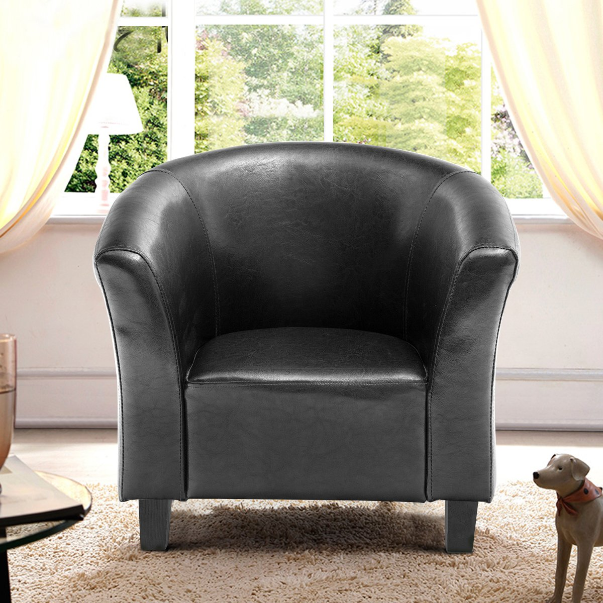 Costzon Kids Sofa Tub Chair Couch Children Living Room Toddler Furniture (PU Leather, Black) by Costzon (Image #4)