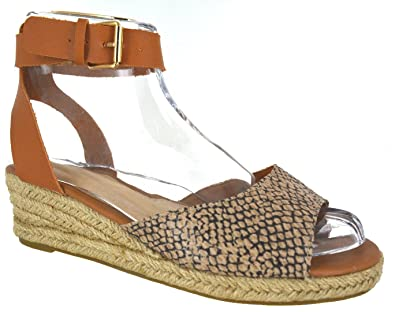 03172e635d6f Other Ladies Womens Low Heel Wedge Summer Sandals Buckle Strap ESPADRILLIES  Shoes Size  Amazon.co.uk  Shoes   Bags