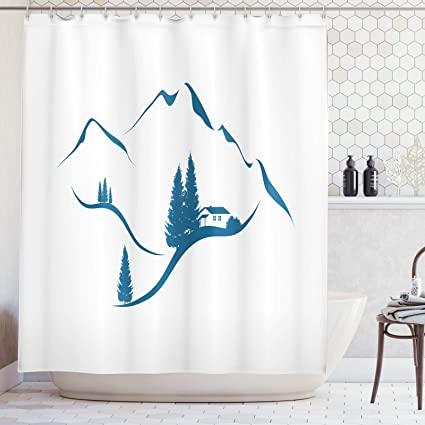 Abakuhaus Switzerland Shower Curtain Alpine Mountains With Chalet And Fir Trees Monochrome Composition Cloth Fabric Bathroom Decor Set With Hooks 86 Inches Extra Long Night Blue And White Amazon Co Uk Kitchen Home
