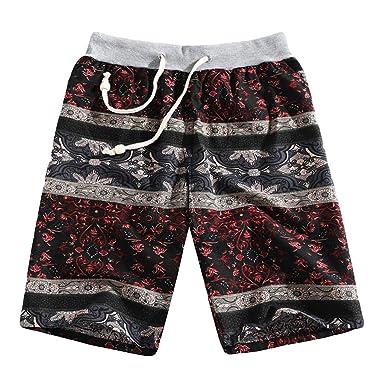 beautyjourney Shorts Retro de Lino de Playa para Hombre ...