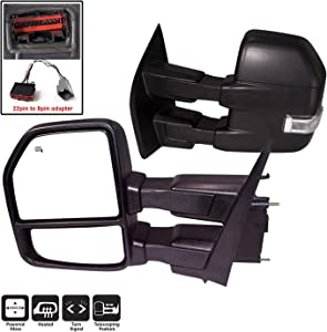 AERDM New towing mirror Black Housing with Temperature sensor fit 2015-2018 F150 Towing Mirrors w/Blind Spot with Turn Signal, Puddle and Auxiliary Lamp