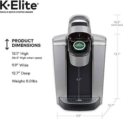 Keurig K-Elite Solo sirven K-Pod Copa Cafetera, con Control de ...