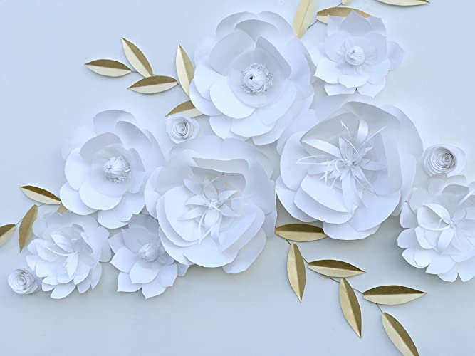 Amazon Com White Paper Flowers Backdrop Decor Handmade