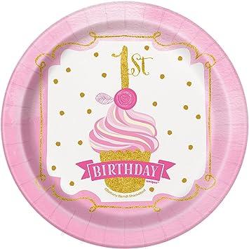 Unique Party- Platos de Papel Fiesta de Primer Cumpleaños para Niña, 8 Unidades, Color rosa y dorado, 18 cm (58154)