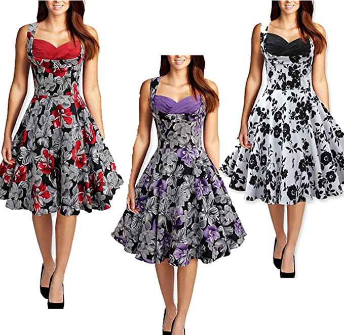 Wenseny Mujer Vestidos Vintage Sin Mangas Impresos Flores Cóctel Vestido de Noche de Fiesta