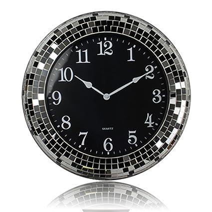 Espejo De La Sala De La Pared Del Reloj De Moda Blanco Y Negro Relojes Antiguos