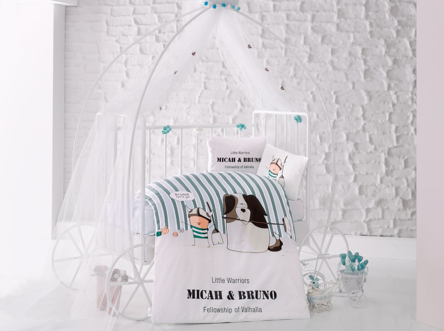 Bruno Green Baby Cot Bed Duvet Cover Set, 100% Cotton Soft and Healthy 4-Pieces Bedding Set