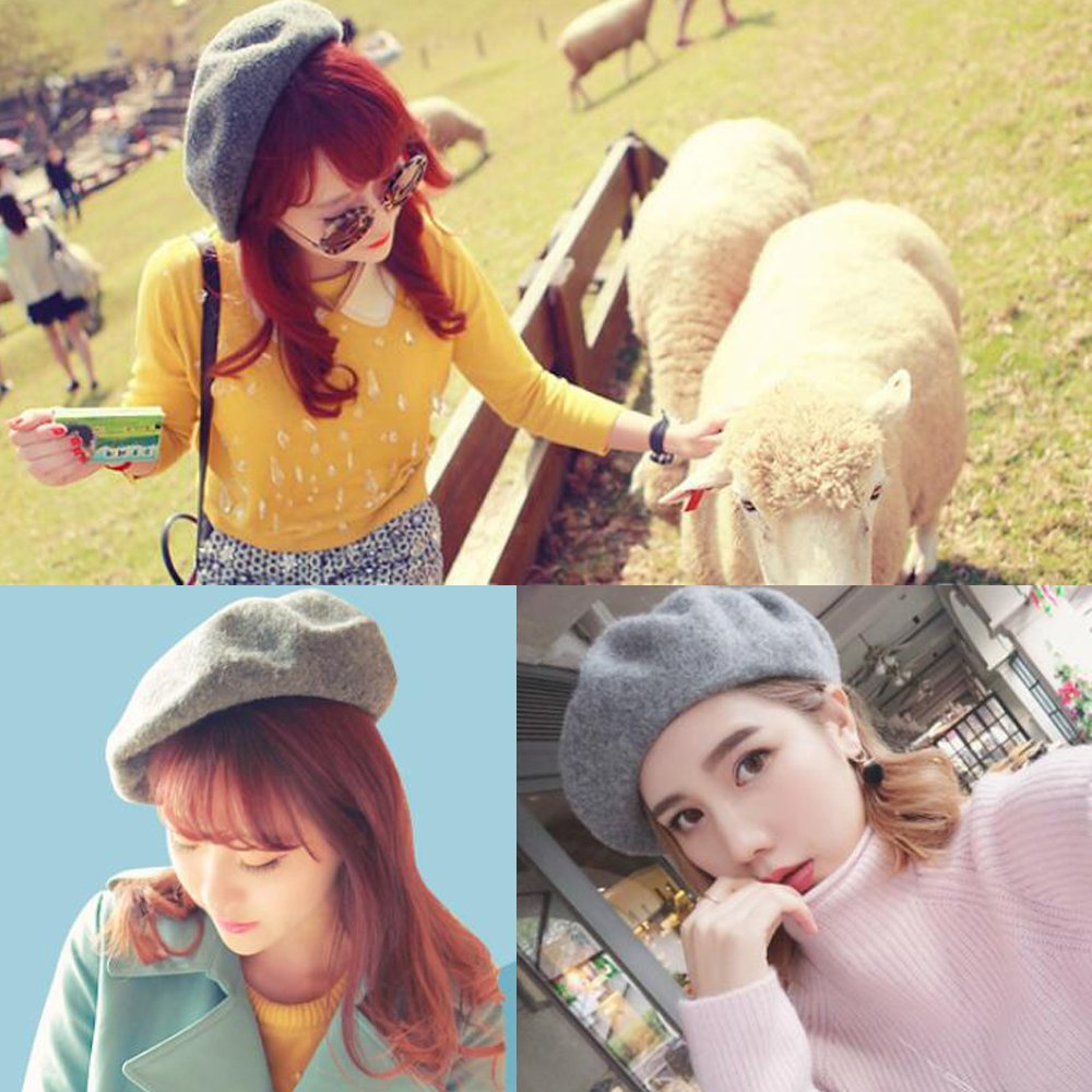 a9c73ddc6 MUDINGXIU Women Girls Solid Color Wool Winter Beret French Artist ...