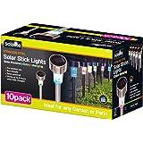 Solalite - Lampade da giardino ricaricabili, con luci LED, a energia solare, in acciaio, cambiano colore, confezione da 10