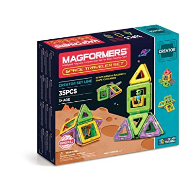 Magformers Space Traveler 35 Pieces Rainbow Colors, Educational Magnetic Geometric Shapes Tiles Building STEM Toy Set Ages 3+: Toys & Games