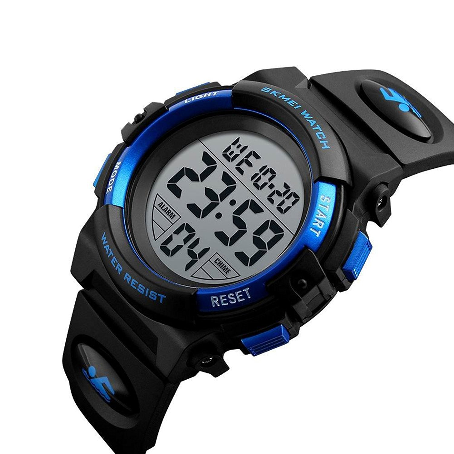Kids Outdoor Sports Children's Waterproof Wrist Dress Watch with LED Digital Alarm Stopwatch Lightweight Silicone for Boy Girl (White)