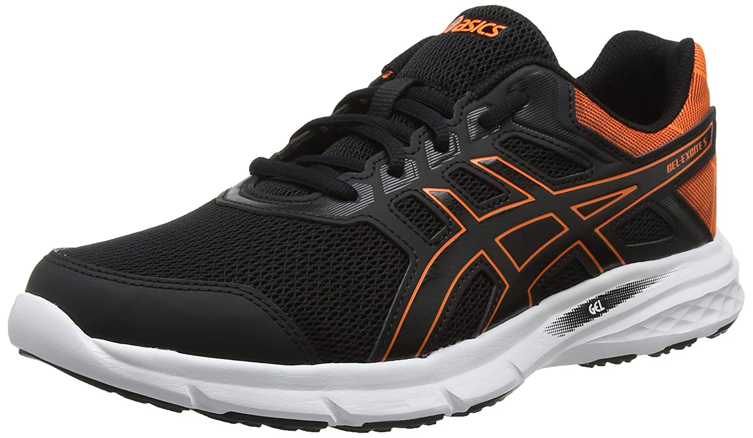 Asics Gel-Excite 5, Zapatillas de Entrenamiento para Hombre 48 EU|Negro (Black/Shocking Orange 001)