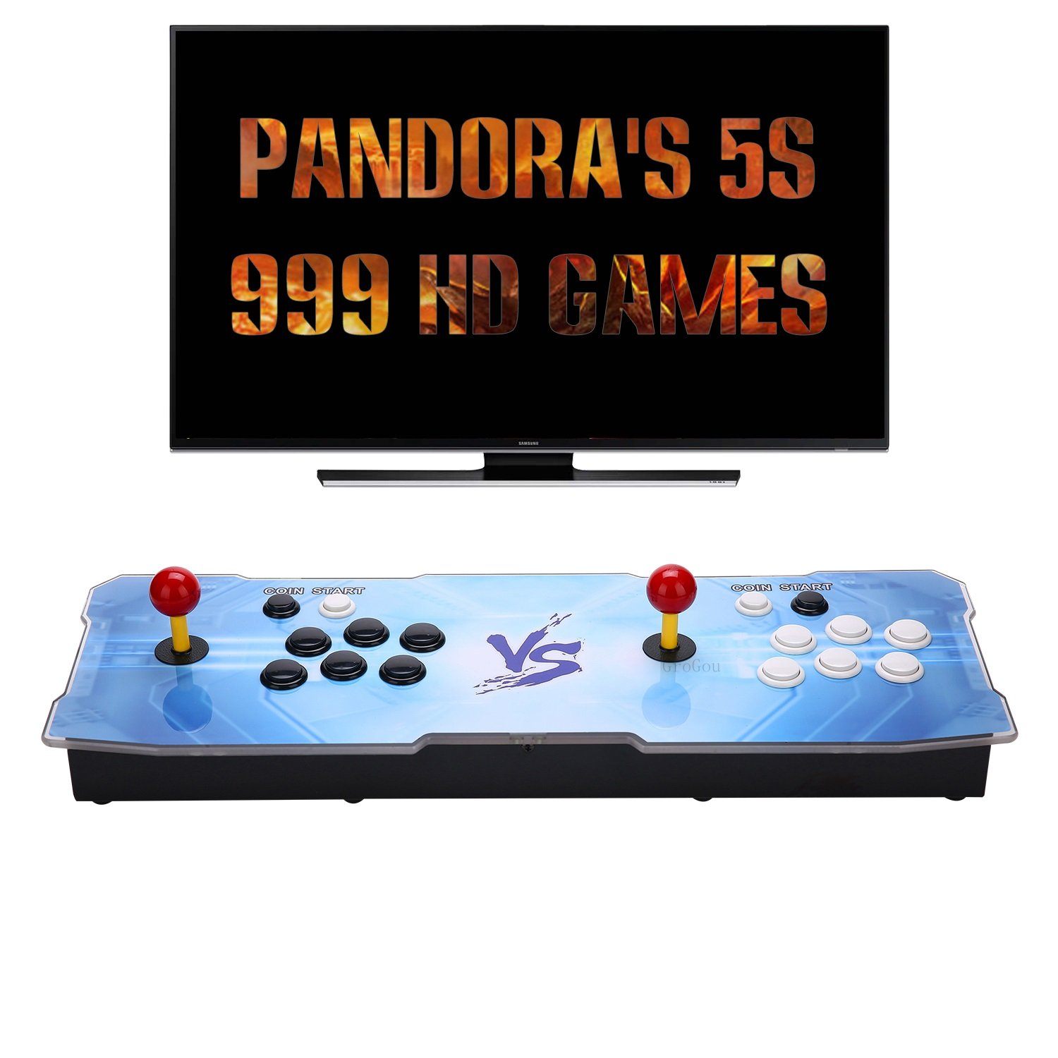 [999 HD Arcade Games] GroGou Arcade Video Game Console 999 Retro Games Pandora's Box 5s Plus Arcade Machine Double Arcade Joystick Built-in Speaker