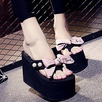 LIXIONG Tragbar 12cm Weibliche Sommer-High-Heels-Pantoffeln (blau / Schwarz / Grau / Rosa) Modeschuhe ( Farbe...