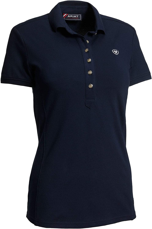 ARIAT Womens Prix 2.0 Short Sleeved Polo Shirt Heather Grey