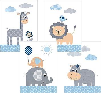 LALELU-Prints A3 // A4 Bilder Kinderzimmer Poster Babyzimmer Deko Junge M/ädchen Dschungeltiere Wolken DIN A3 ohne Rahmen Kinder-Bilder Set Kinderzimmer-Bilder Baby-Bilder Tiere