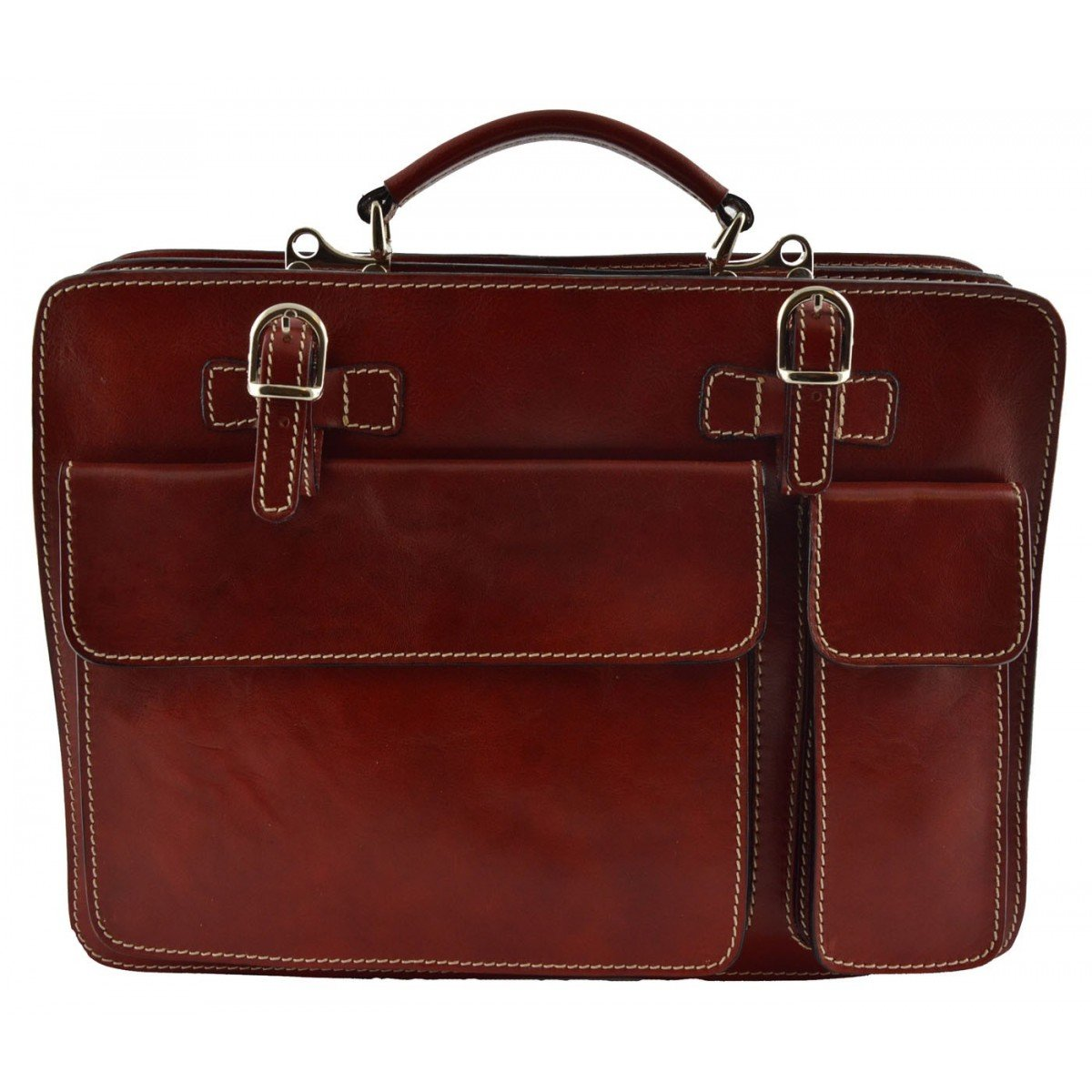 Made In Italy Leather Business Bag Color Red - Business Bag B01BCBN908