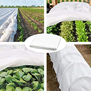 EVOSUMMER Premium Plant Covers Freeze Protection Cloth 8Ft x 24Ft Reusable Plant Covers,Floating Row Cover Rectangle Garden Fabric Plant Cover for Winter Frost Protection Sun Pest Protection