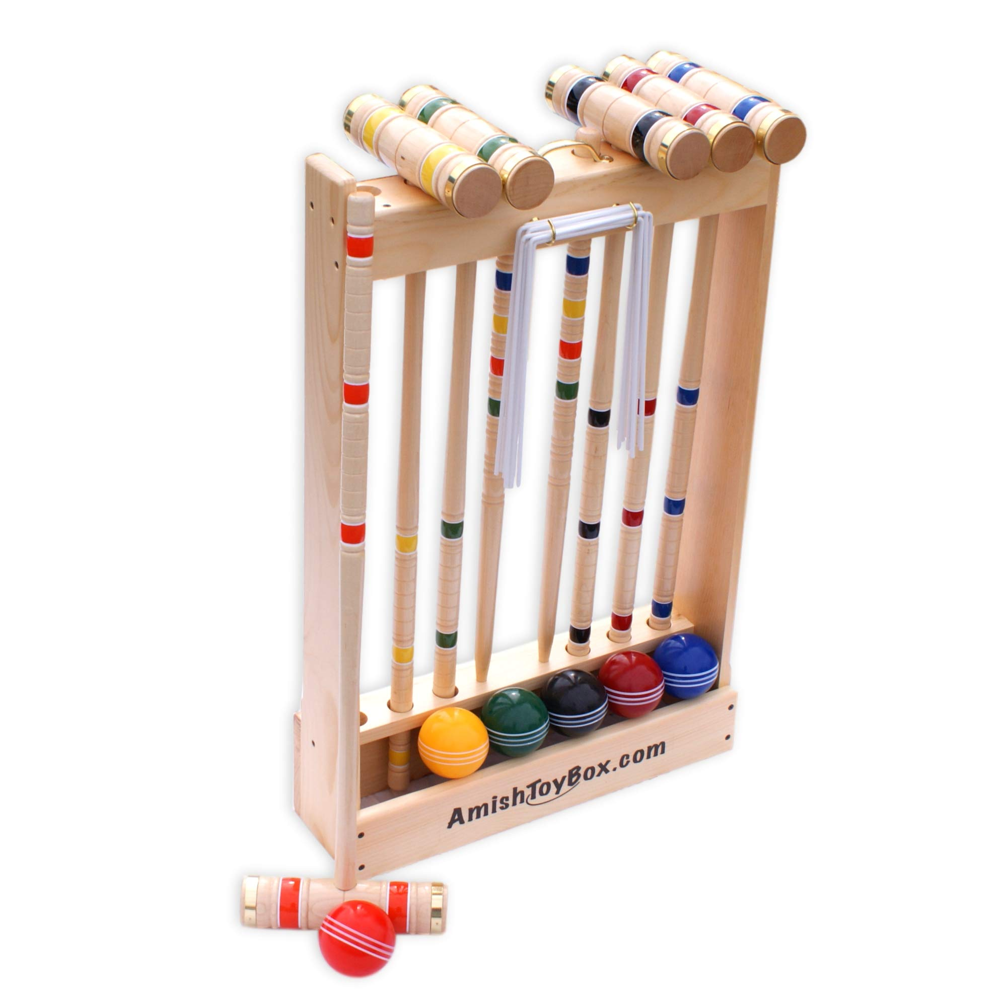 Amish-Crafted Deluxe Maple-Wood Croquet Game Set, 6 Player (Three 28'' Handles/Three 32'' Handles) by AmishToyBox.com (Image #2)