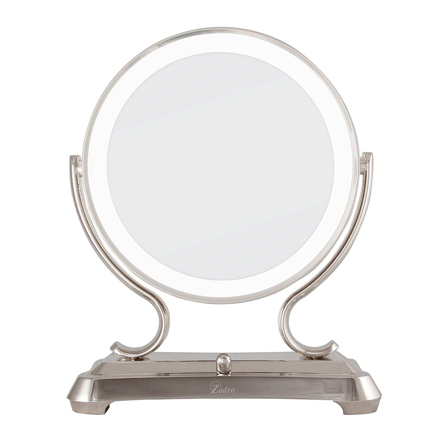 Zadro Polished Nickel Surround Light Dual Sided Glamour Vanity Mirror, 5 X / 1 X Magnification by Zadro