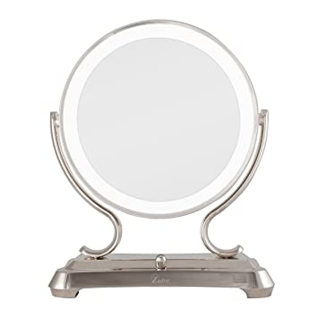 zadro mirrors. zadro polished nickel surround light dual sided glamour vanity mirror, 5x / 1x magnification mirrors a