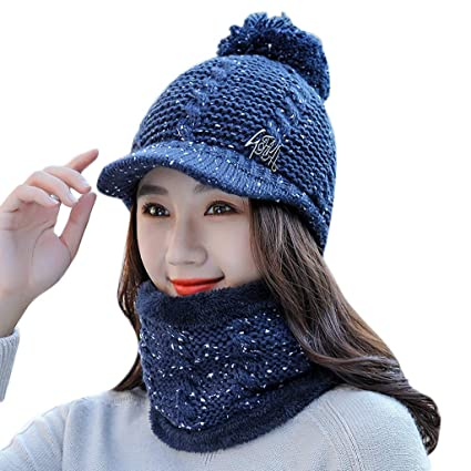 a0594d6f3 FANUD Women Knitted Beanie Hat+Scarf Warm Wool Ball Beret + Bib Two ...
