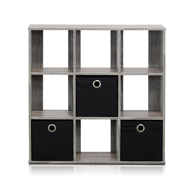 Amazon Furinno GY BK Simplistic 9 Cube Organizer with Bins