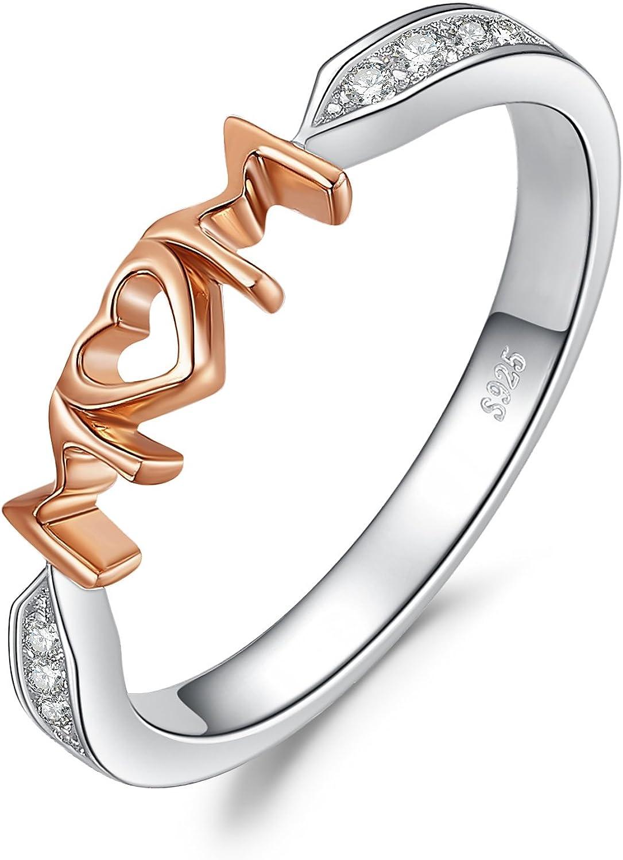 JewelryPalace MOM Cubic Zirconia Anillo de plata de ley 925 de oro rosa