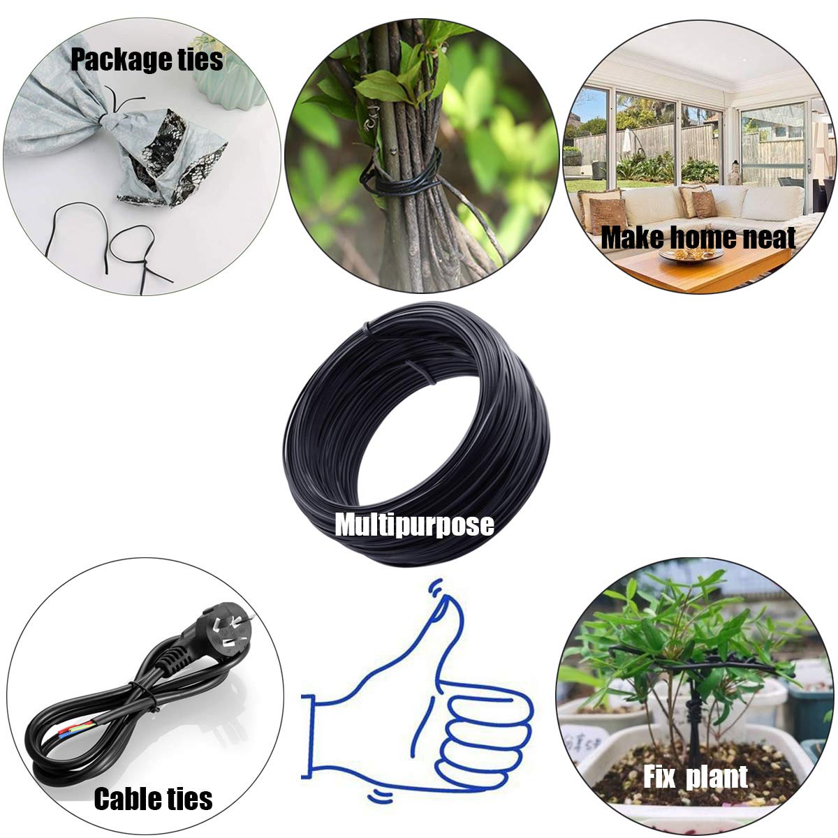 QY 230 Feet 0.75MM Diameter Metallic Twist Cable Garden Ties Reusable Fastening Black