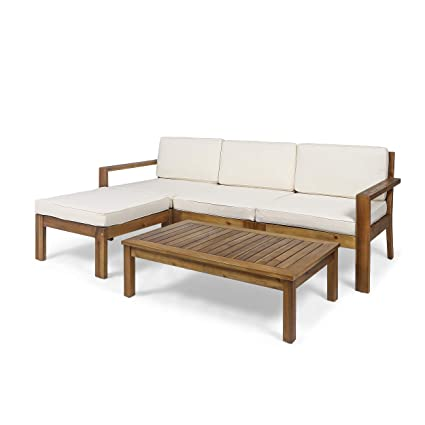 Great Deal Furniture Makayla Ana Outdoor 3 Seater Acacia Wood Sofa Sectional With Cushions Teak And Cream