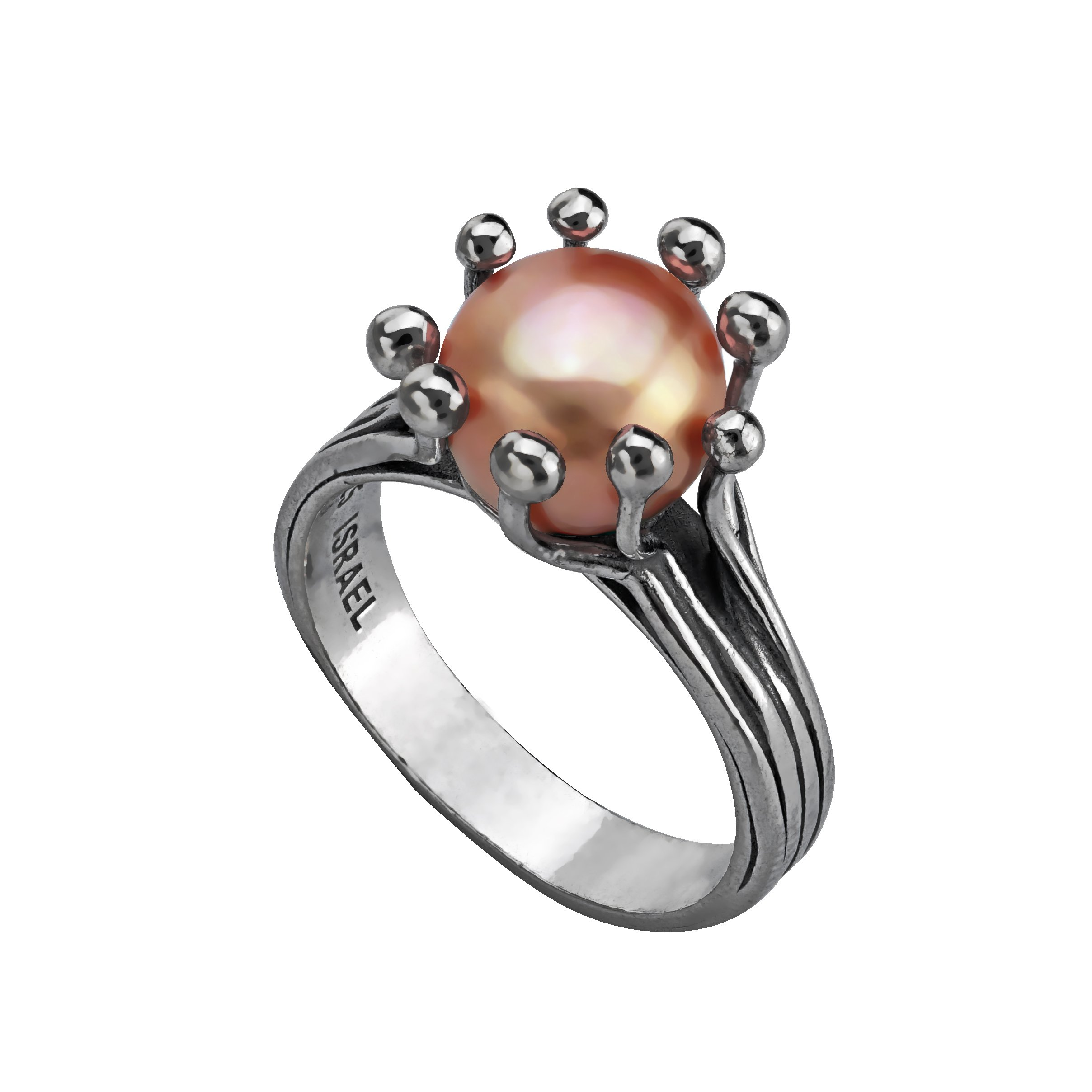 Paz Creations 925 Sterling Silver Cultured Pink Pearl Ring (7)