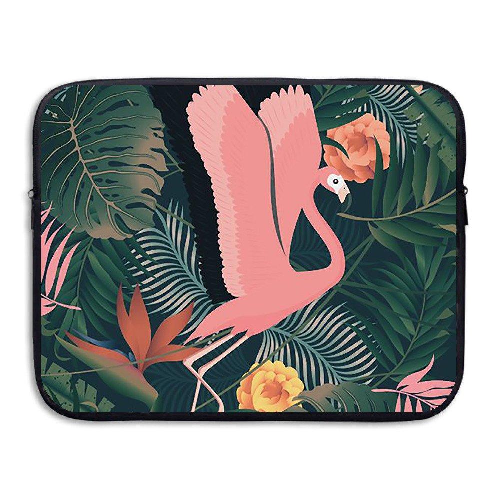 Color rosa Flamingo y flores repelente al agua para ordenador portátil Bolsas Bolsas para portátiles ordenador mochila 13