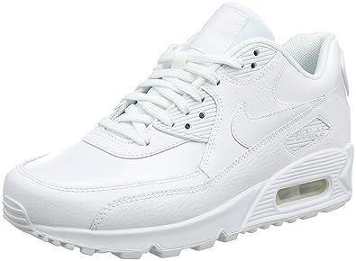 2debda99e8 Nike Women's WMNS AIR MAX 90 LEA, White/White-White, 10 US: Amazon ...