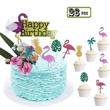 Bozoa 26Pack Luau Cake Toppers Flamingo Birthday Pineapple